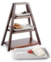 Hotel Collection 3-Tier Wood Server with Porcelain Plates