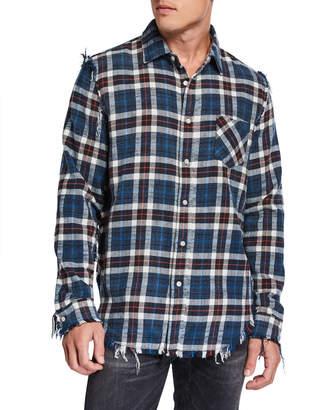 R 13 Men's Plaid Shredded-Seam Sport Shirt