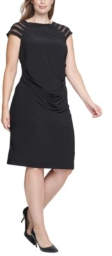 Jessica Howard Plus Size Illusion-Sleeve Sheath Dress