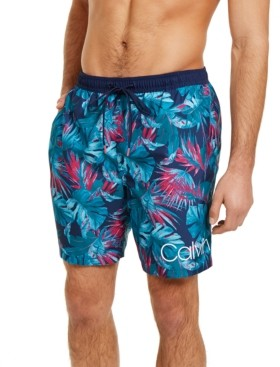 "Calvin Klein Men's Hawaiian Quick-Dry Uv 50+ Tropical-Print 7"" Swim Trunks, Created for Macy's"