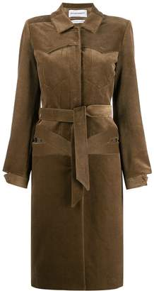 Situationist belted corduroy coat