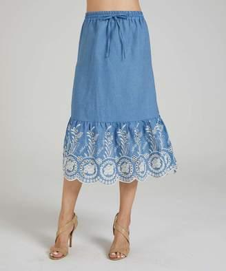 Suzanne Betro Women's Casual Skirts 101LIGHT - Blue Light Wash Embellished-Border Mermaid Skirt - Women & Plus