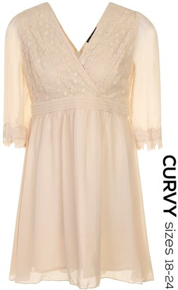 Little Mistress Curvy Cream Floral Applique Long Sleeve Dress