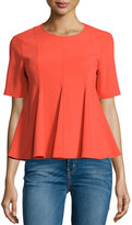 Opening Ceremony Moodie Pleated Short-Sleeve Crepe Top, Carnation
