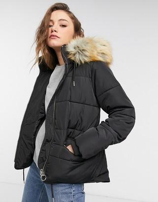 Topshop faux fur hooded coat in black