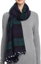 Aqua Color Block Scarf with Pom-Poms - 100% Bloomingdale's Exclusive