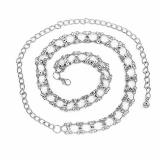 Trimming Shop Women Waist Chain Belt Silver Metal with Diamante Rhinestone for Fashion Accessories Casual Formal and Western Outfits Fastening with stylish Clasp 115cm