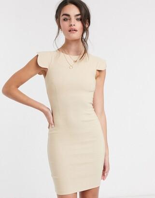 Vesper Poppy scalloped sleeve mini dress taupe