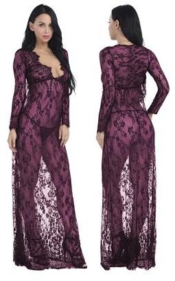 Luna Intimates Lily Women's Lingerie Sexy Sheer V-Neck Lace Nightgown Nightdress G-String Babydoll Sleepwear Nightwear 2 Piece Set