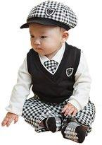 TRURENDI Kids Boy Baby 5pcs Hat + Pants + White Shirt + Vest + Tie Baptism Party Sets