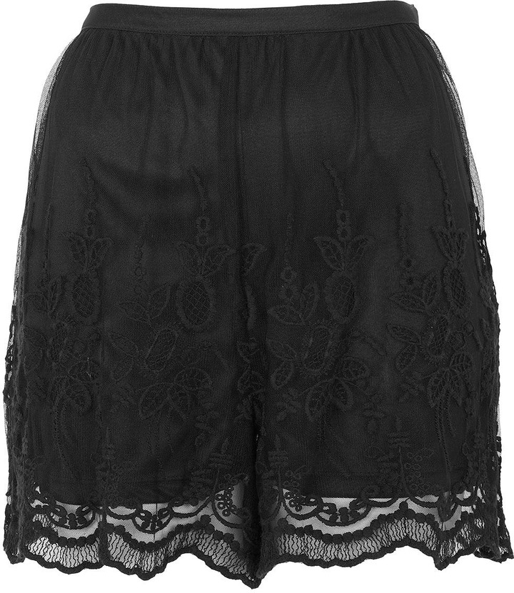 Topshop Black Lace Embroidered Shorts