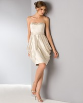 Platinum Label Lamé Strapless Dress with Tulip Hem