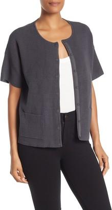 Eileen Fisher Short Sleeve Silk Blend Cardigan