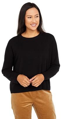Eileen Fisher Crew Neck Box Top (Black) Women's Clothing