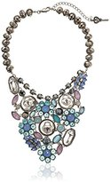 "Betsey Johnson Lady Lock"" Mixed Faceted Bead Statement Necklace"