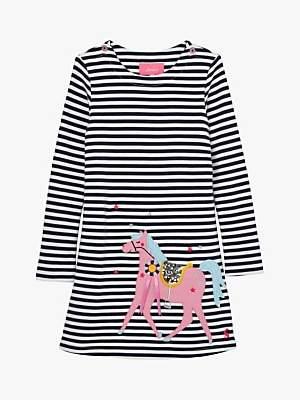 Joules Little Joule Girls' Kaye Horse Print Dress, Navy