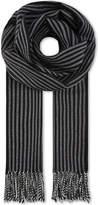 Saint Laurent Black Tassel Timeless Striped Wool Scarf