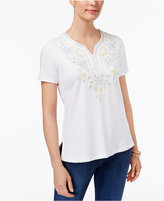 Alfred Dunner Blue Lagoon Embroidered Beaded Top