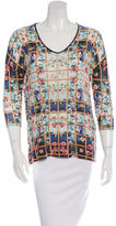 Mary Katrantzou Rose Print Three-Quarter Sleeve Top