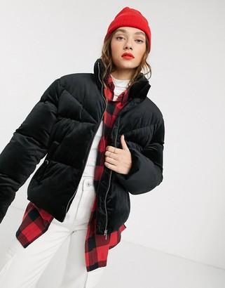 Tommy Jeans velvet padded jacket-Black