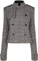 Haider Ackermann Monochrome Houndstooth Tweed Cropped Jacket