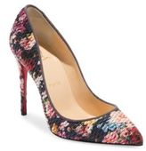 Christian Louboutin Classique Pigalle Follies 100 Matelasse Floral Point Toe Pumps