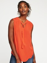 Old Navy Relaxed Sleeveless Tie-Neck Top for Women
