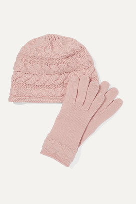 Portolano Cable-knit Cashmere Beanie And Gloves Set