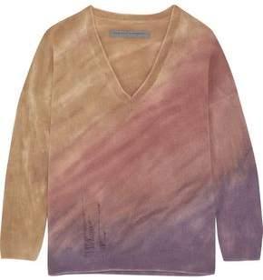 Raquel Allegra Boyfriends Distressed Tie-Dyed Merino Wool And Cashmere-Blend Sweater