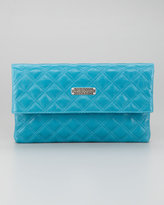 Marc Jacobs Eugenia Large Quilted Lambskin Clutch Bag, Turquoise