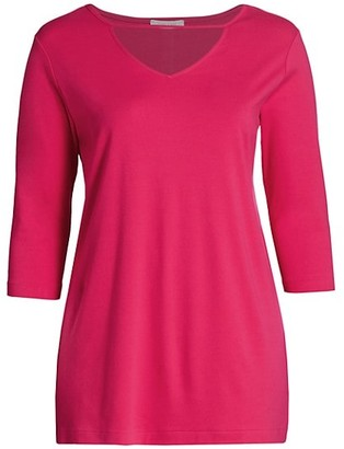 Joan Vass, Plus Size V-Neck Cutout Tunic