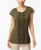 Charter Club Petite Flutter-Sleeve Ruffled Top, Only at Macy's