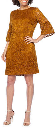 Studio 1 3/4 Bell Sleeve Lace Shift Dress