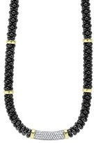 Lagos Women's 'Black Caviar' 7Mm Beaded Diamond Bar Necklace