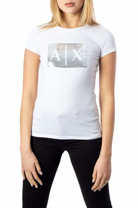 A|X Armani Exchange Women's Basic T-Shirt with Logo on Bust