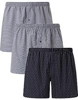 John Lewis Ashstead Multi Pattern Woven Cotton Boxers, Pack of 3, Navy
