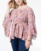 Planet Gold Trendy Plus Size Printed Off-The-Shoulder Open-Back Top