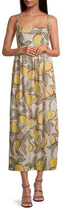 Lemon-Print Midi Dress