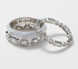 Diamonique Set of 3 Affirmation Stackable Rings, Sterling