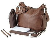OiOi Leather Hobo Diaper Bag - Soft Lamb Chocolate with Decorative Stitching by