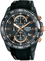 Lorus Rm317dx9 Chronograph Date Silicone Strap Watch, Black