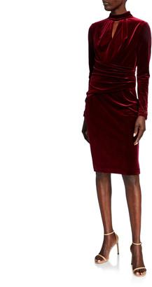 Rickie Freeman For Teri Jon Mock-Neck Long-Sleeve Stretch Velvet Dress w/ Bead Trim