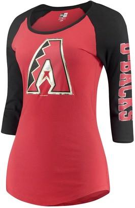 New Era Women's 5th & Ocean by Red/Black Arizona Diamondbacks Foil 3/4-Sleeve T-Shirt