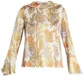 Peter Pilotto Roll-neck floral-print silk blouse