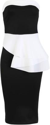 Oops FashionStar Womens Boobtube Bandeau Double Layered Peplum Ruffle Frill Bodycon Midi Dress Black