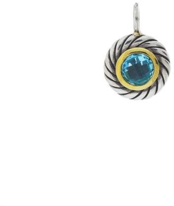 David Yurman Sterling Silver & 18K Yellow Gold with Blue Topaz Pendant