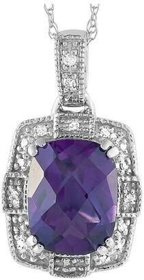 Non Branded 14K 0.07 Ct. Tw. Diamond & Amethyst Necklace