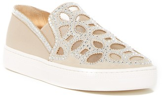 Badgley Mischka Shani Embellished Satin Slip-On Sneaker
