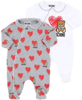 Moschino SET OF 2 LIGHT COTTON BLEND ROMPERS