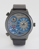 Police Elapid Mens Black Leather Strap Watch With Gray And Blue Mutli Functional Dial